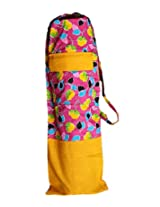 Beautiful, colorful cotton Yoga Mat Cover with zipped pocket - Yellow & Pink