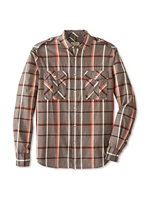 Denim & Leathers by Andrew Marc Men's Gibson Plaid Shirt (Espresso)