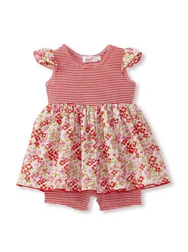 Jupon Baby Samantha Flutter Sleeve Skirted Romper (Red)