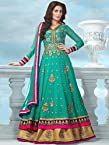 Beautiful Fancy Green and Gold color Anarkali suit uf782014