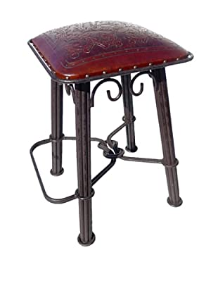New World Trading Colonial Western Iron Barstool, Antique Brown