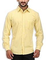 SPEAK Men's Yellow Print Premium Cotton Casual Shirt