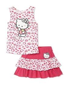 Hello Kitty Girl's 2-6X Applique Skirt Set (White)