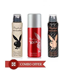 Playboy Women Deos Pack of 3(Rock,Spicy,Lovely)-150 Ml Each