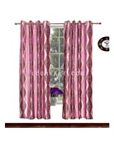 Avioni Home Fancy Rich Look Purple Leaves Eyelet curtain polyester Material (4 feet X 7 feet) (set of 2)