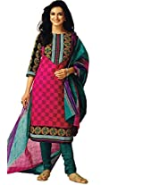 Jevi Prints Pink & Teal Unstitched Cotton Dress Material with Dupatta
