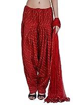 Jaipur Kala Kendra Women's Patiala Salwar Dupatta Set (10013_Red_Large)