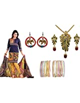 Rakhi Jewellery Hamper of 1 Salwar Suit & 1 Pair Of Earring