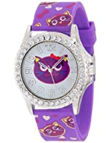 Frenzy Kids' FR808B Cat Print Purple Analog Watch
