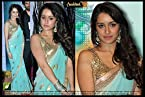 Bollywood Designer Ashiqui 2 Fame Shraddha Kapoor Worn Sea Green Chiffon Saree