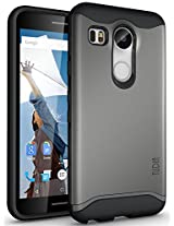 TUDIA Slim-Fit MERGE Dual Layer Protective Case for Nexus 5X [With Microphone Cutout] (2015) (Metallic Slate)