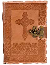 Craft Club Leather with Cross And Lock Notebook, 7 x 5 inches, 200 Pages