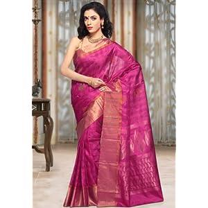 Fuchsia Pure Kanchipuram Handloom Silk Saree with Blouse