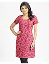 Cotton A-line Scoop Neck Printed Mini Kurta-