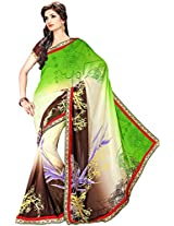 Shree Bahuchar Creation Women's Chiffon Saree(Skb31, Green)