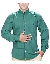 SPEAK Men's Green Plain / Solid Mandarin / Chinese Collar Casual Shirt (42, Green)