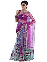 Byzantium Purple and Persian Green Net Embroidered Lehenga Style Saree in Large Size