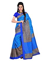 Vibes Women's Polyster Cotton Saree, With Blouse (S24-23_Blue)