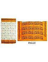 DollsofIndia Black Print on White South Cotton Saree with Saffron Border - Cotton - White