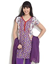DIVA Multi Polka Print Cotton Kurti, purple, m