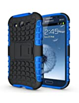 JKase DIABLO Series Tough Rugged Dual Layer Protection Case Cover with Build in Stand for Samsung Galaxy Grand i9080, Samsung Galaxy Grand Duos i9082 - Retail Packaging (Blue)