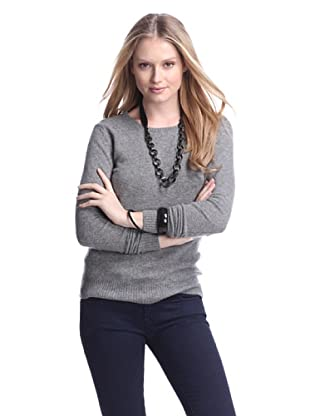 Cashmere Addiction Women's Long Sleeve Crew Neck Sweater (Cloud)