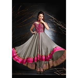 Utsav Fashion Grey Faux Chiffon Readymade Anarkali Suit