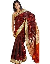 Exotic India Satin Brocade Saree (Sai70--Burgundy _Burgundy)