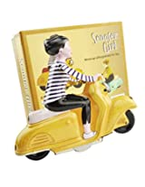 Tin scooter girl wind up toy 70's vintage toy with collectors Box