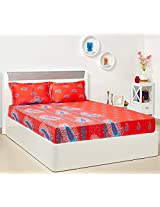 Bombay Dyeing Sundew 120 TC Polycotton Double Bedsheet with 2 Pillow Covers - Pink