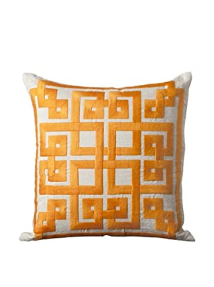Surya Geometric Throw Pillow (Taupe/Burnt Orange)