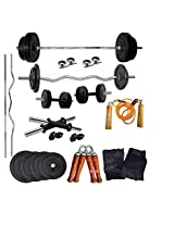 AURION 20KG DUMBBELL SET COMBO OFFER 3 FEET STRAGHBAR+3 FEET CURL BAR+ GLOVE+ROPE+4 LOCKS