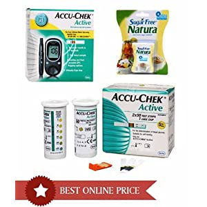 Accu Chek Active Glucose Monitor with 10 Strips & 100 Strips Combo - Get Free Sugar Free 300 Tablets