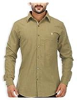 SPEAK Men's Green Checkered Twill Cotton Casual Shirt