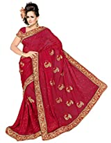 Chinco Embroidered Saree With Blouse Piece (502-E_Red)