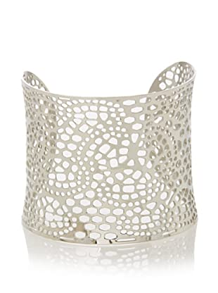 Chloe Collection By Liv Oliver Silver Wide Textured Cuff Bracelet