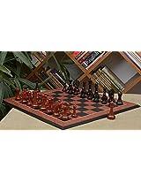 Chessbazaar Combo Of Pegasus Series Artisan Staunton Chess Set In Ebony / Bud Rose Wood & Black Anigre Red Ash Burl Board