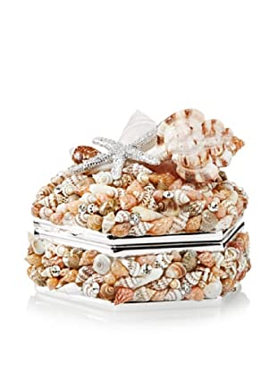 Isabella Adams Natural Sea Shell Keepsake Box with Swarovski Crystals, Silver