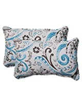 Pillow Perfect Indoor/Outdoor Paisley Corded Rectangular Throw Pillow, Tidepool, Set of 2