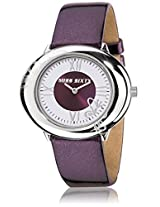 Miss Sixty Oval White Dial-Leather Strap Women's Watch -SRK002