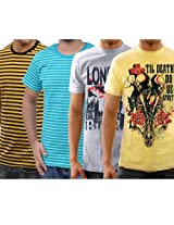 Funktees 100% Cotton Small Size Round Neck T-shirt - Pack of 4