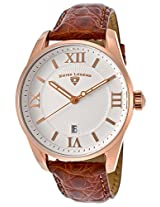 Bellezza White Textured Dial Brown Genuine Alligator Rose-Tone Accent (22012-Rg-02-Abr51M)
