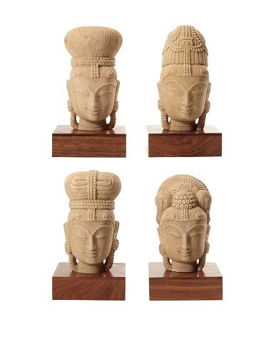 Tozai Set of 4 Hand Carved Indian Goddess Statues