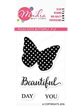 """Mudra Stamps - Polka dots Butterfly - 3""""X2"""""""
