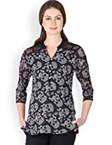 Ayaany Black Printed Polyester Top for Women (Size: Small)
