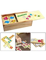28 Pieces Wooden Animal Dominoes Playing Set in Wooden Box for Kids Ages 3+ Years