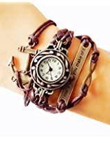 Brown Vintage Time is What You Make of It Inspirational Bracelet Watch