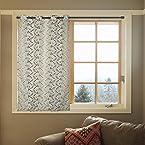 Ekya Premium Sheer Floral Fabric Window Curtain with Eyelets - 48
