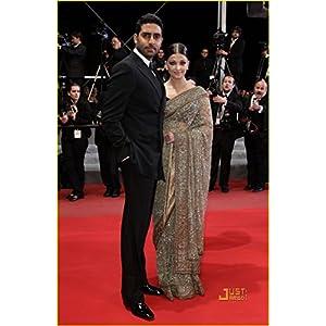 Bollywood Replica Aishwarya Rai Net Saree, Beige & Gold