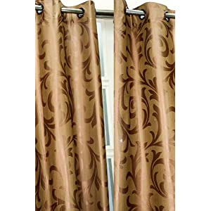Brown floral ready made matched eyelet curtain (4 x 5)